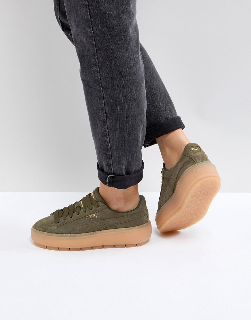 Lyst - PUMA Platform Trace Trainers In Khaki in Green 66a4c8528