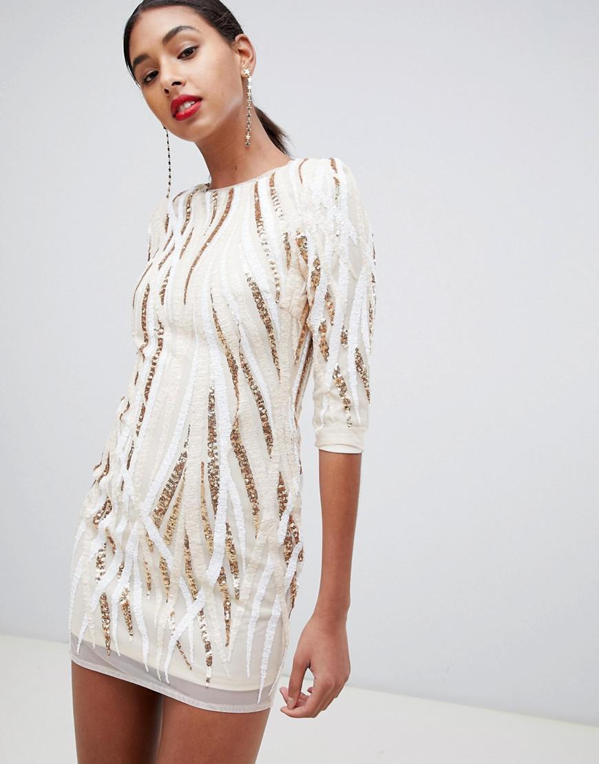 Lyst - TFNC London Swirl Patterned Sequin Bodycon Mini Dress In ... 383824a86