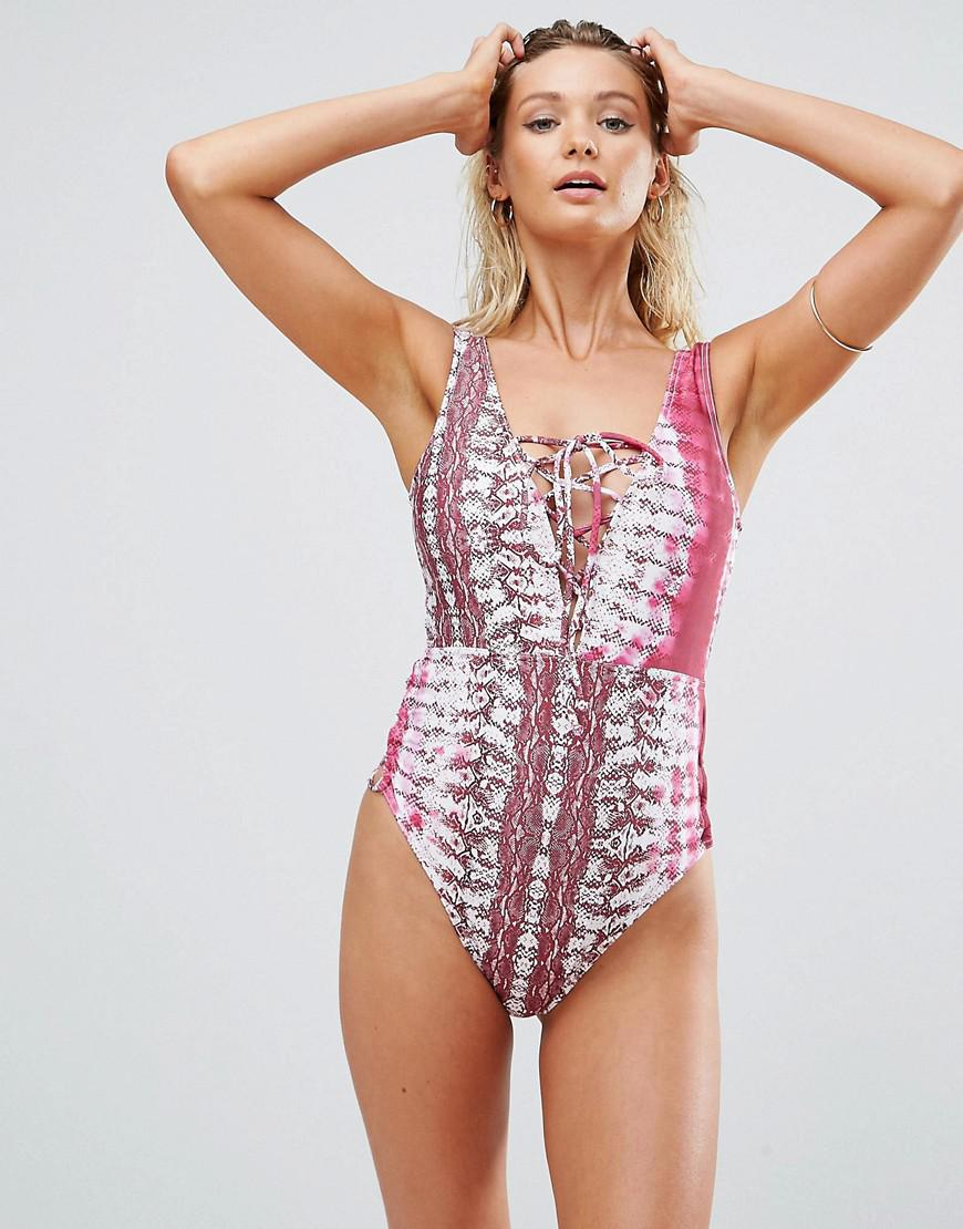 10cc5325aaf2a Lyst - ASOS Fuller Bust Snake Tie Dye Print Lace Front Swimsuit Dd-g