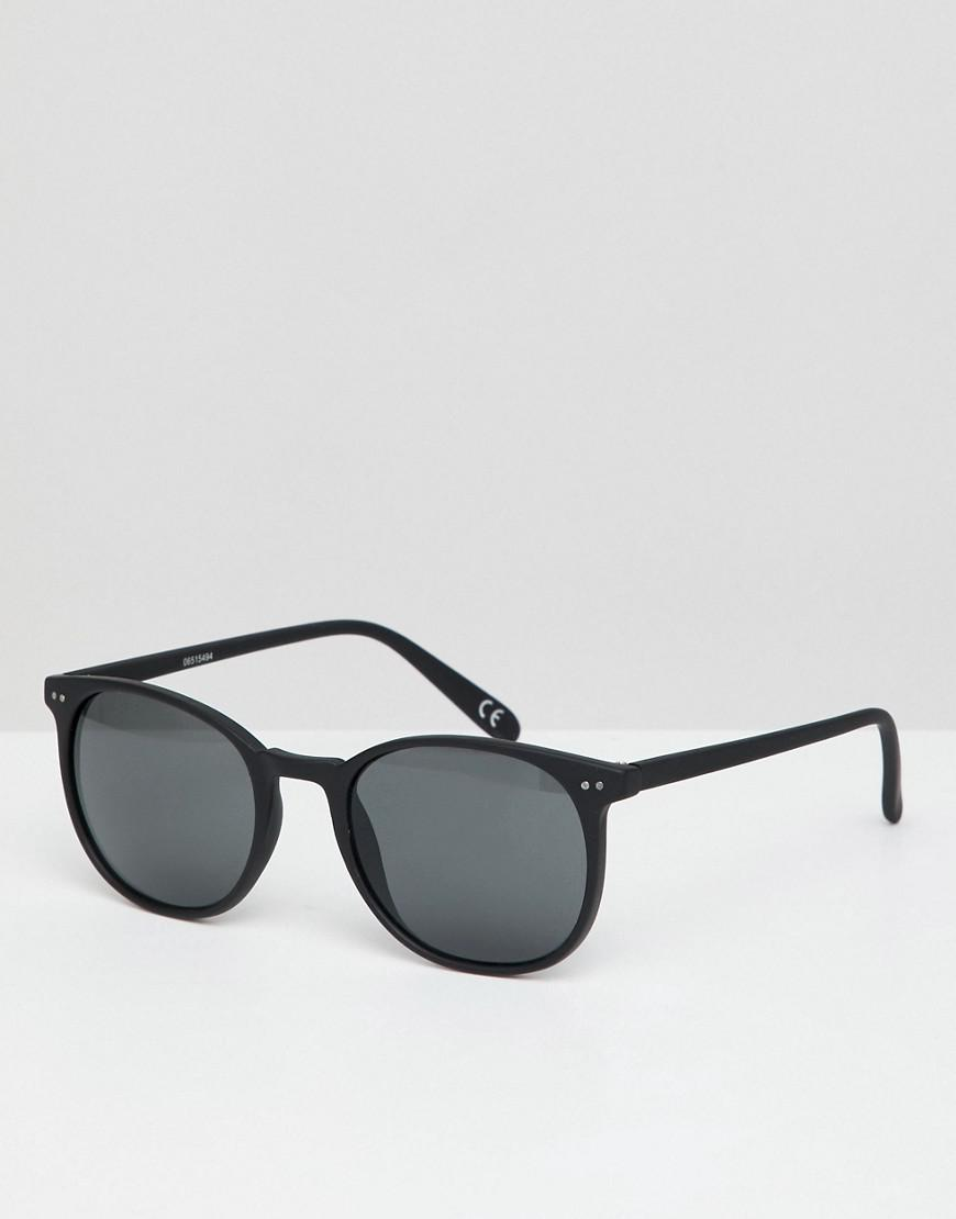 52f505b0a12 Lyst - ASOS Square Sunglasses In Matte Black With Smoke Lens in ...