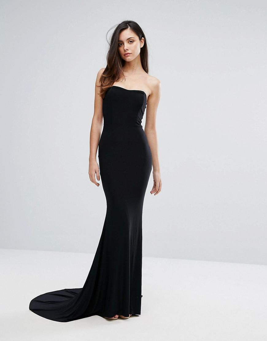a2a970ef8199 Club L Bandeau Fishtail Maxi Dress in Black - Lyst