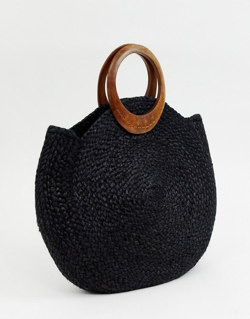 64b811b11807 Accessorize Summer Straw Bag In Black With Interest Handle in Black - Save  65% - Lyst
