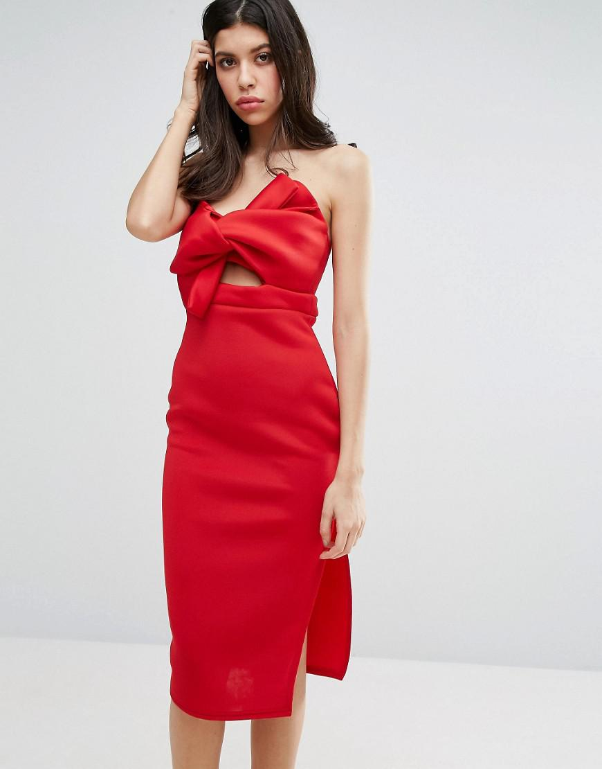 831de1bdb51e Lyst - Missguided Scuba Bow Detail Bodycon Dress in Red