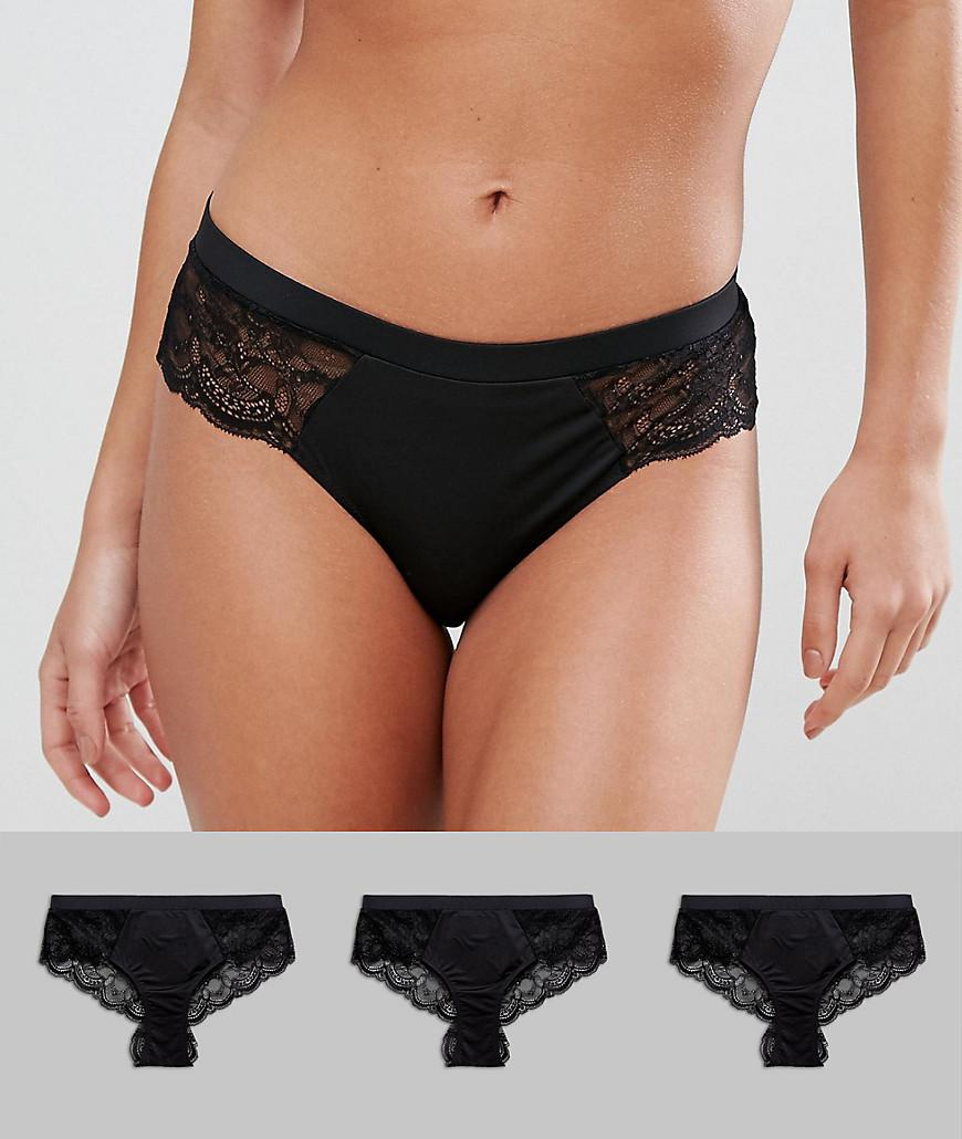 Buy Cheap For Sale Sale Best Sale 3 Pack Microfibre & Lace French Knicker - Black Asos jbyoCa2Fq