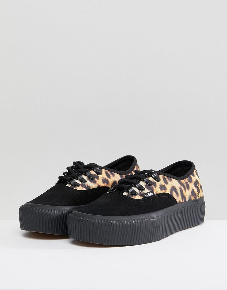 5350033a9b5 Vans Authentic Platform Trainers In Leopard Print in Black - Lyst