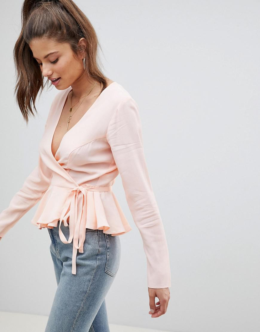 f038cb9a634 Lyst - ASOS Long Sleeve Fuller Bust Wrap Top With Pephem In Blush in ...