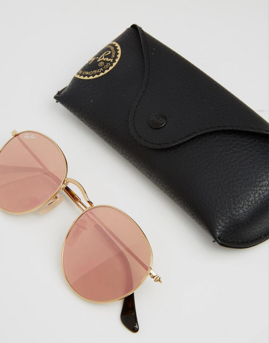 2d955dca738 ... reduced ray ban 0rb3447 round metal flat lens mirror in pink with gold  frame in pink