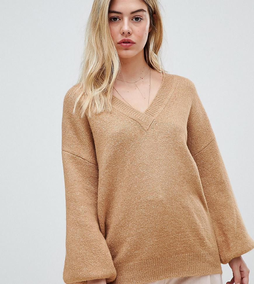 d99e47fea1 Lyst - Micha Lounge Relaxed V-neck Jumper in Natural