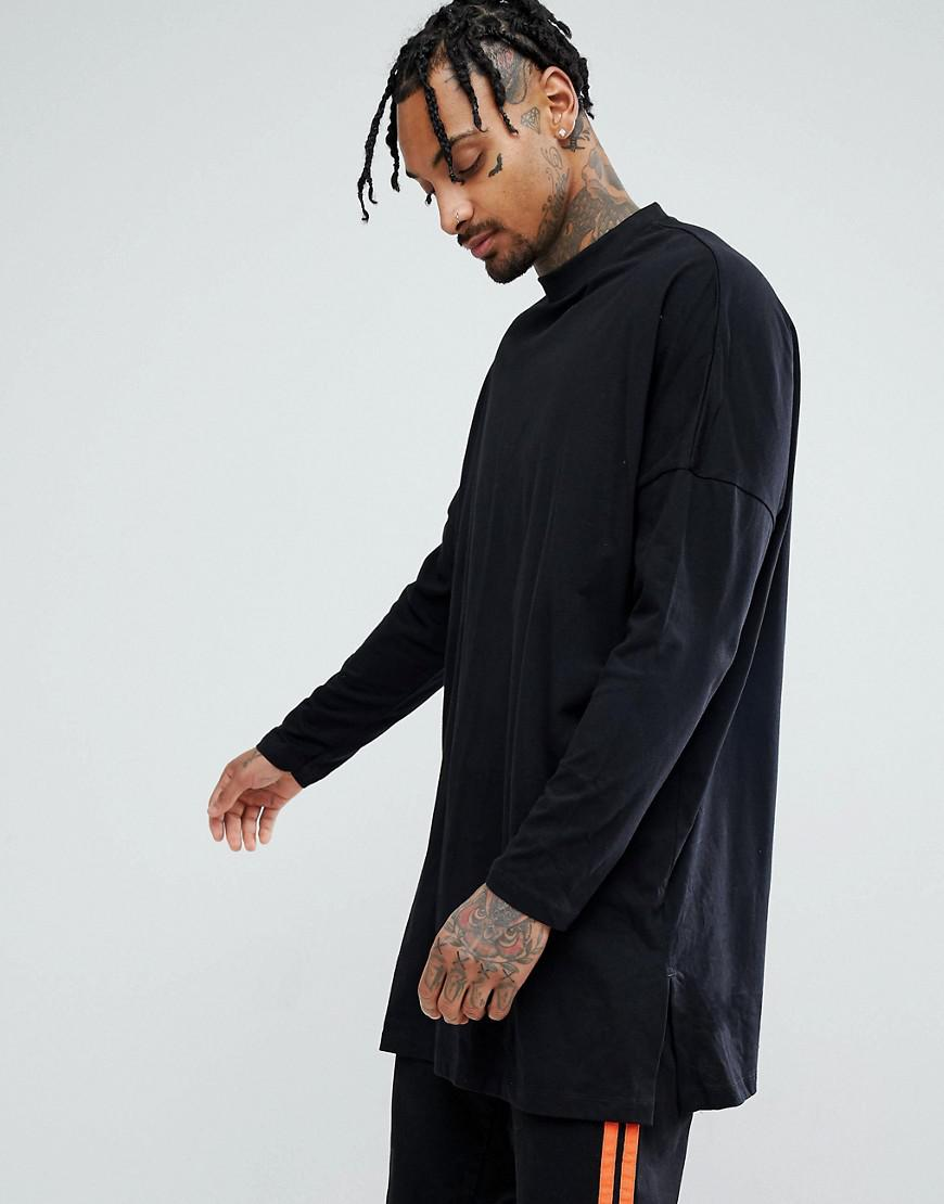 ASOS. Men's Extreme Oversized Long Sleeve T-shirt With Side Splits In Black