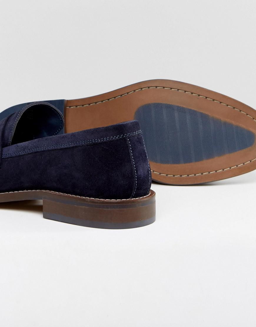 9c8d8f9bd08 Lyst - Dune Penny Loafers In Navy Suede in Blue for Men