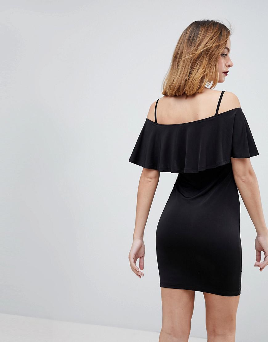 f00d4f5060 Lyst - ASOS Slinky Bodycon Mini Dress With Ruffle in Black