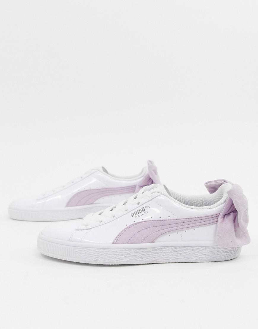 Lyst - PUMA Basket Pink Bow White Sneakers in Pink 40b2a52d2