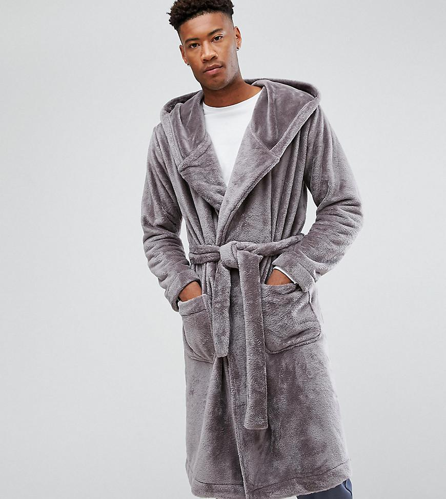 17123c7a08 Asos Tall Fleece Hooded Robe in Gray for Men - Lyst