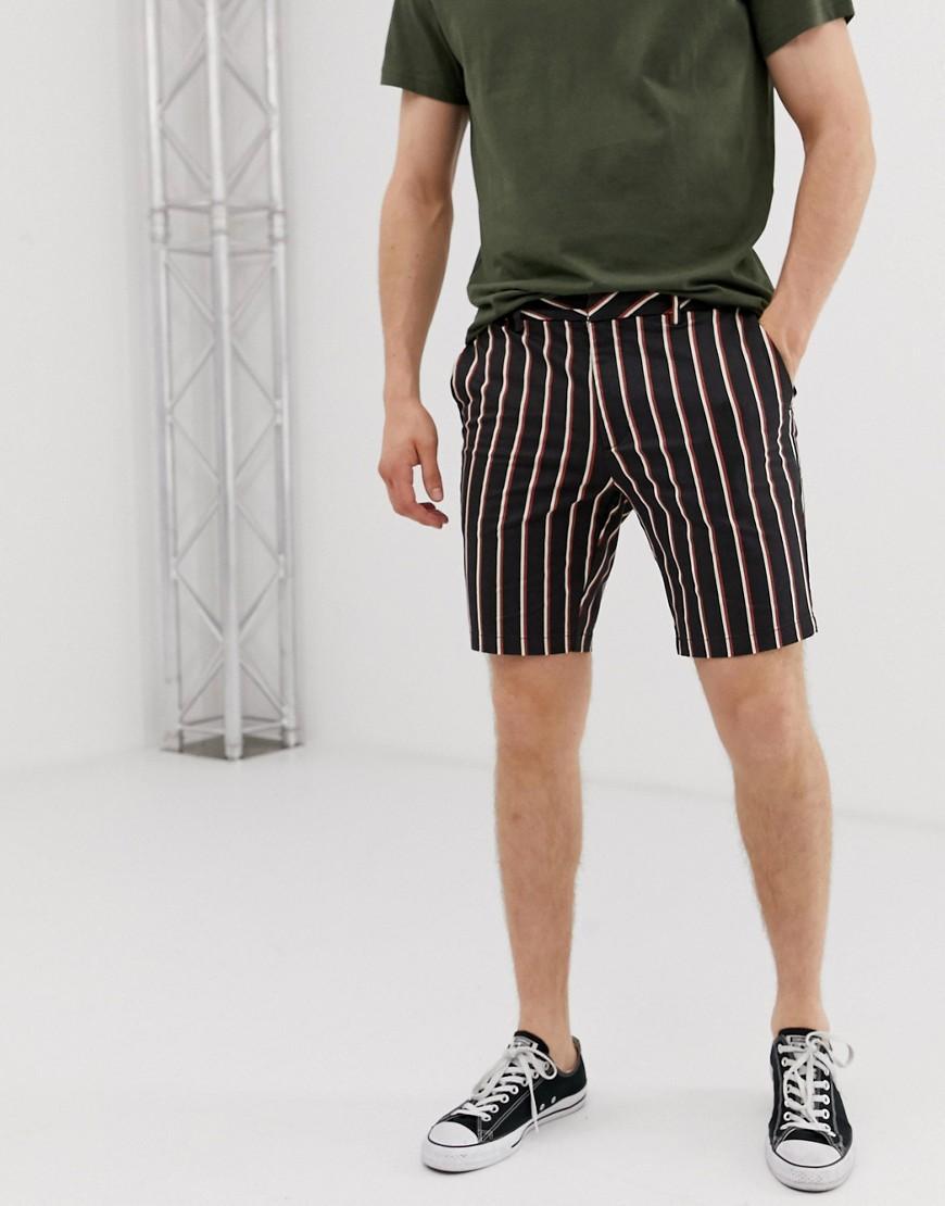 e90c061289 River Island Smart Shorts In Navy Stripe in Blue for Men - Lyst