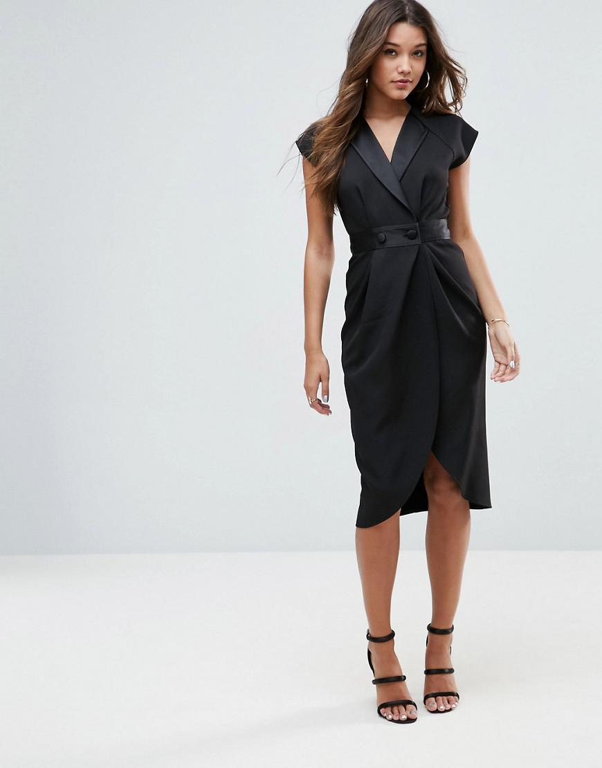 f77a4b09f543 ASOS Tux Midi Dress With Satin Detail in Black - Lyst