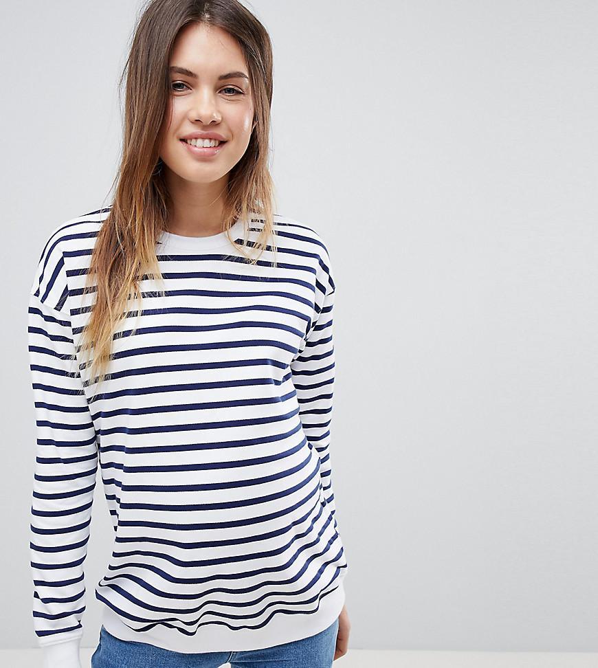 3e2c4deed360c Lyst - ASOS Asos Design Maternity Sweatshirt In Stripe in Blue