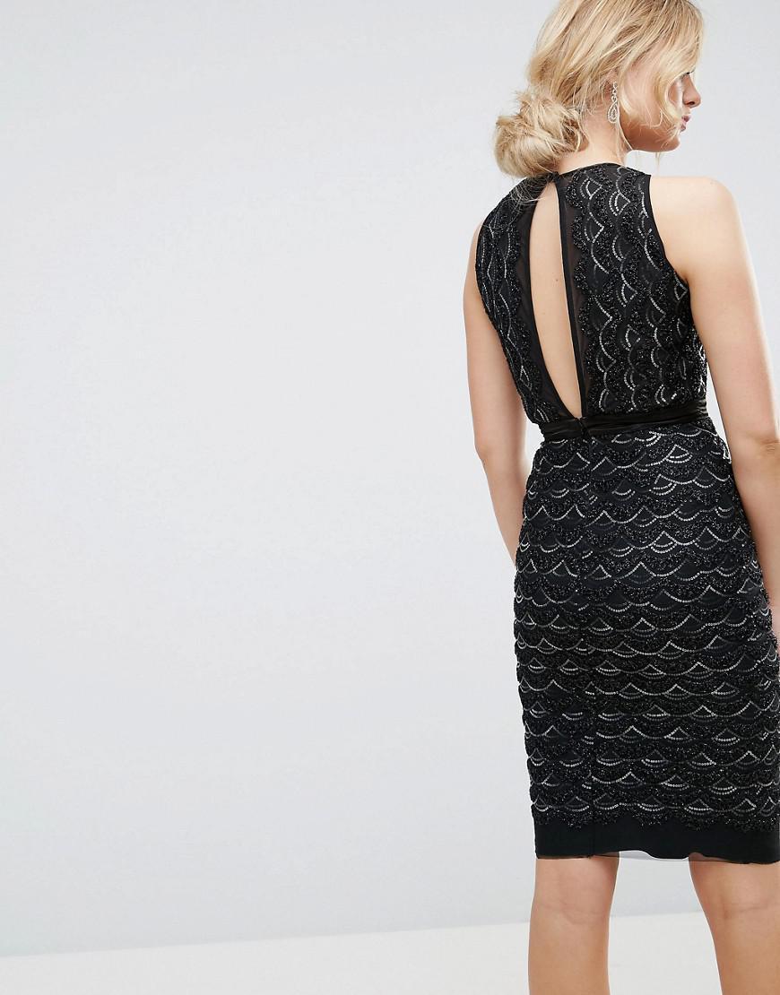 Lyst - TFNC London High Neck Mini Scallop Sequin Dress in Black edcb2674e