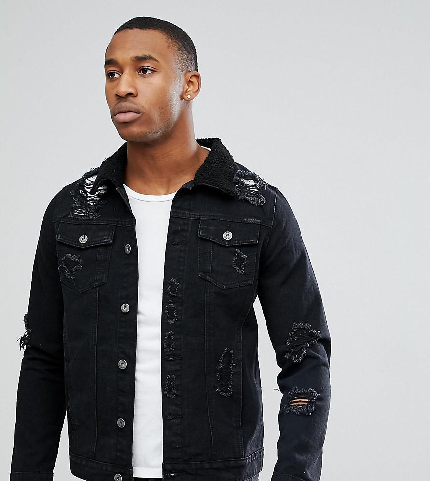 Liquor N Poker Black Wash Rip Repair Borg Denim Jacket In Black