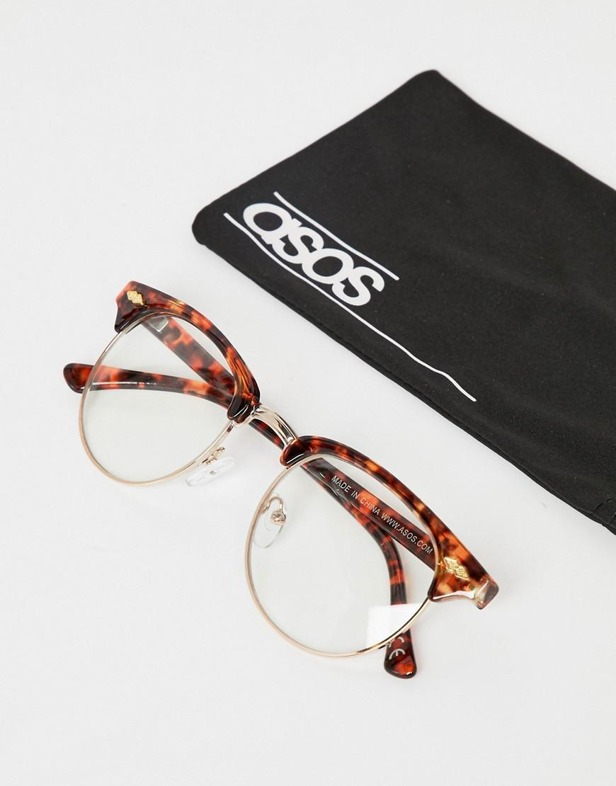 a07674881c Lyst - Asos Design 2 Pack Retro Sunglasses In Tort With Clear Lens   Brown  Grad Lens in Brown for Men