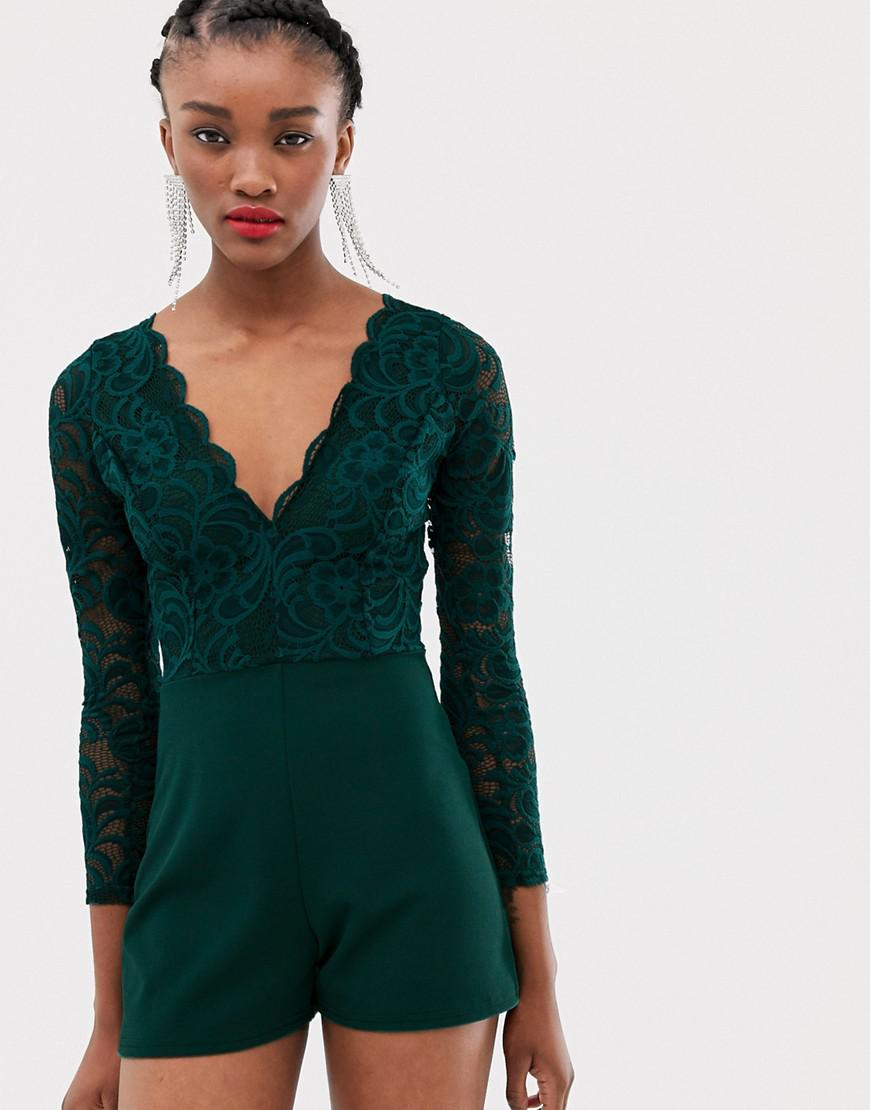 ab50b76453 Lyst - New Look Playsuit In Lace in Green