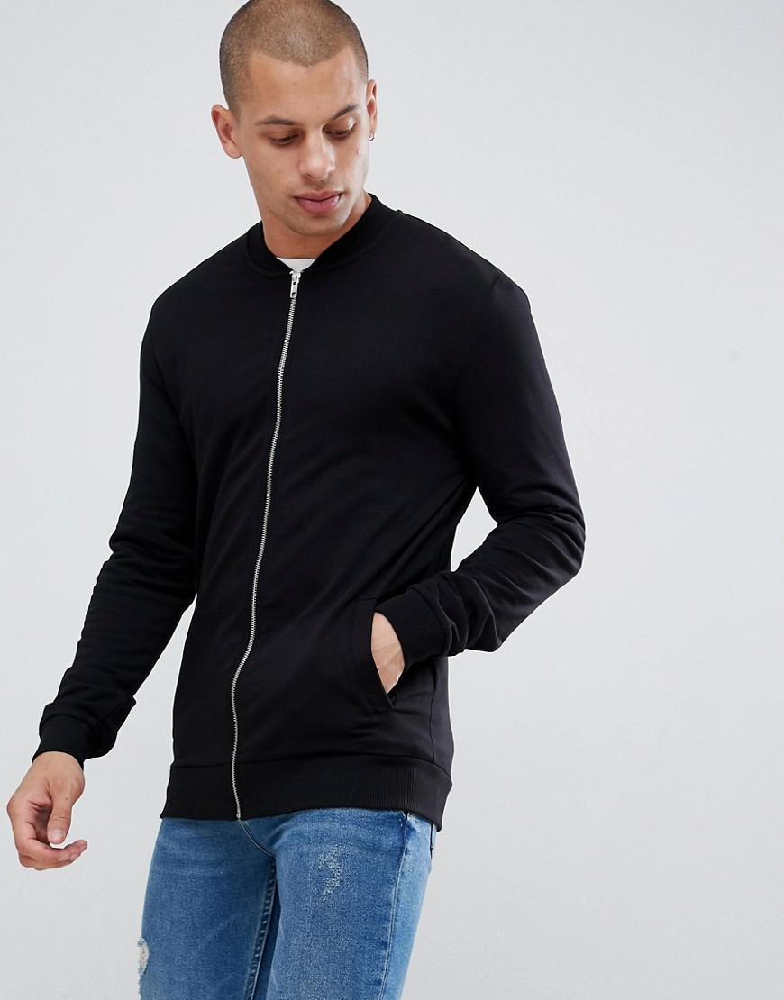 ba29b4955731 Lyst - ASOS Muscle Jersey Bomber Jacket In Black in Black for Men