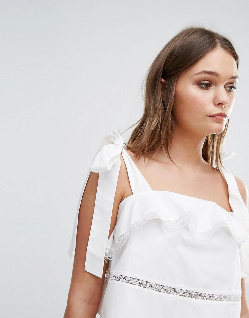 3c7eb98c8683e9 Lyst - Boohoo Ruffle And Lace Tiered Tie Shoulder Crop Top in White