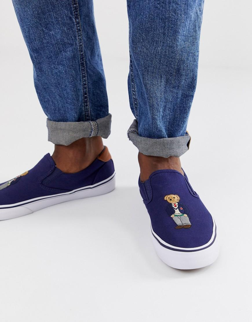 5048deb6956 Polo Ralph Lauren Thompson Bear Logo Slip On In Navy in Blue for Men ...