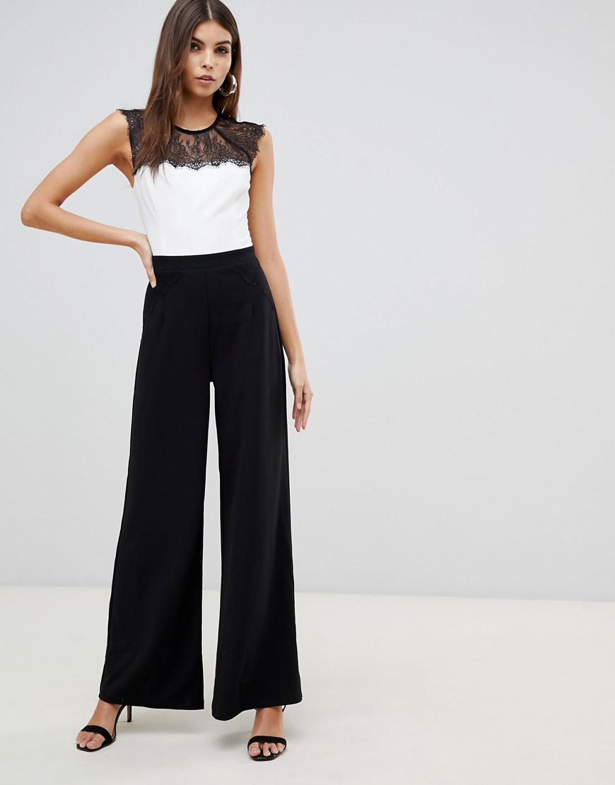 9f1bc6d0e49b Lyst - Lipsy 2 In 1 Lace Jumpsuit In Monochrome in Black