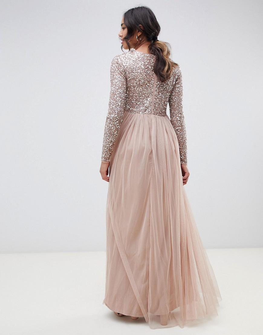 4720e5dbfc5ca Maya Maternity Bridesmaid Long Sleeved Maxi Dress With Delicate Sequin And  Tulle Skirt In Taupe Blush in Brown - Lyst