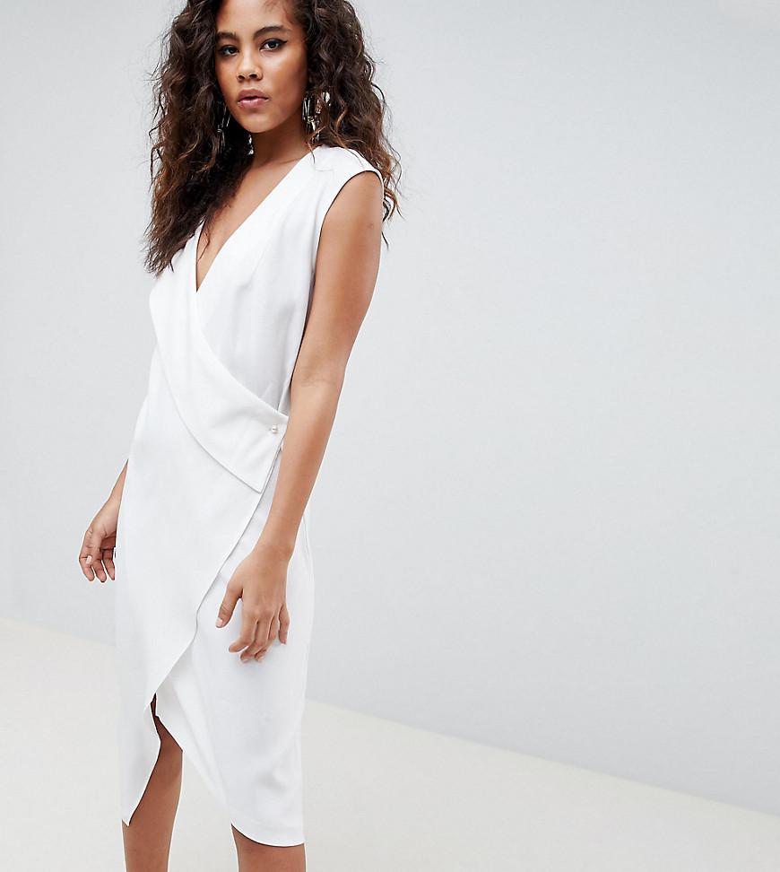 78a7ac2ef577 ASOS Asos Design Tall Satin Clean Tux Midi Dress in White - Lyst