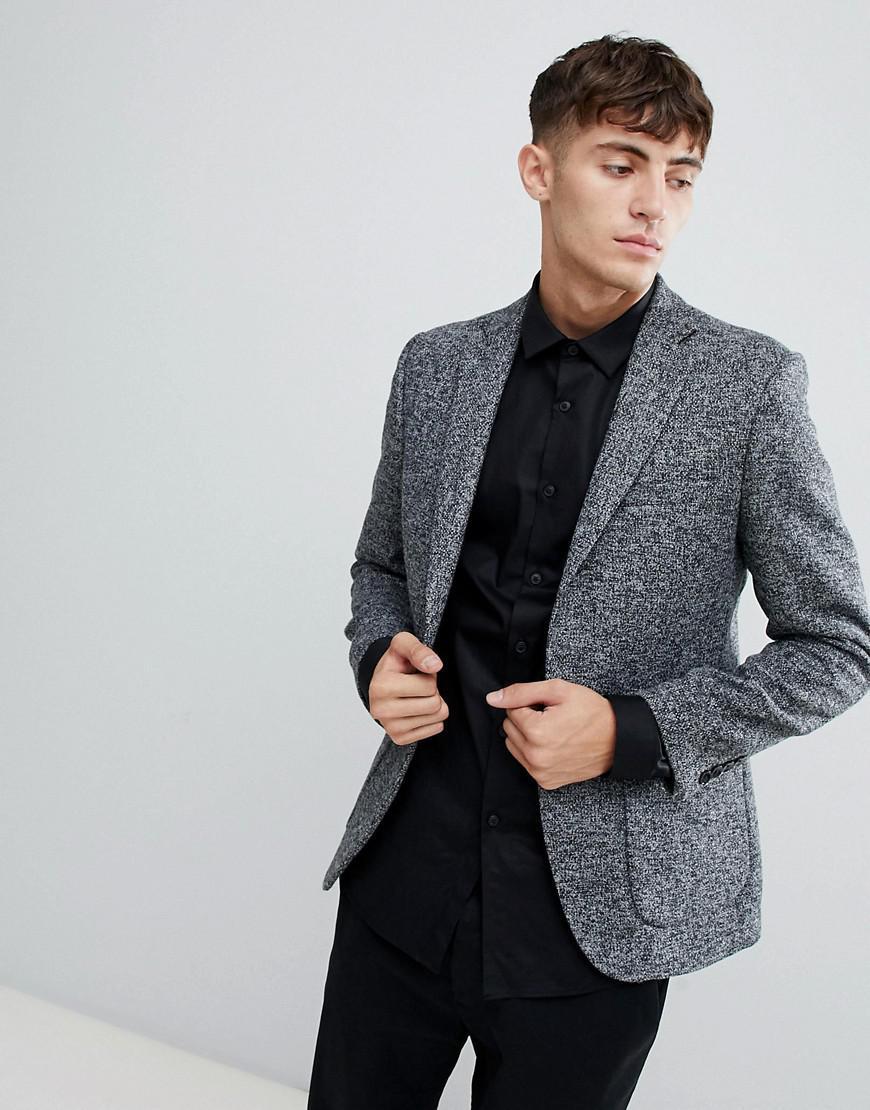 a79d38598f3bda Moss Bros Moss London Skinny Knitted Blazer In Salt & Pepper in ...