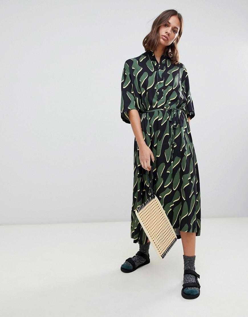 c84f301895 Weekday squiggle Print Oversized Midi Smock Dress - Lyst