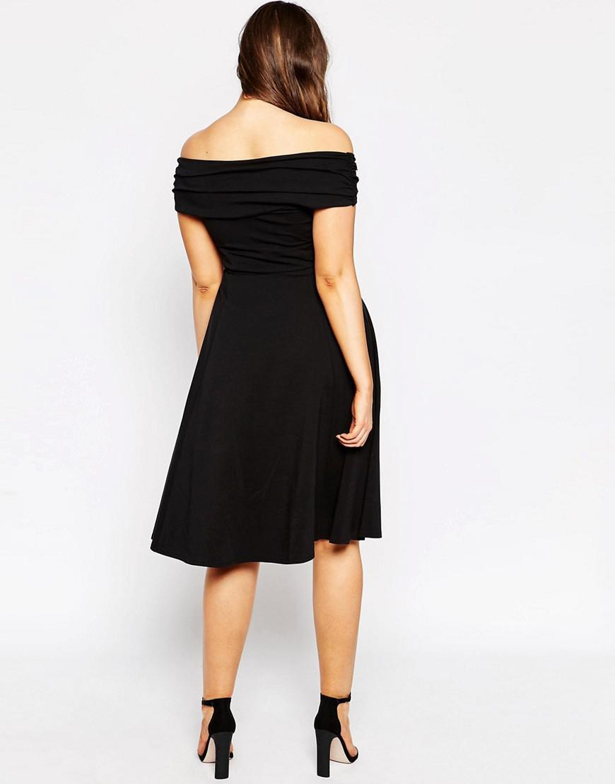 ASOS Midi Skater Dress With Bardot Cross Front in Black - Lyst b084f0906