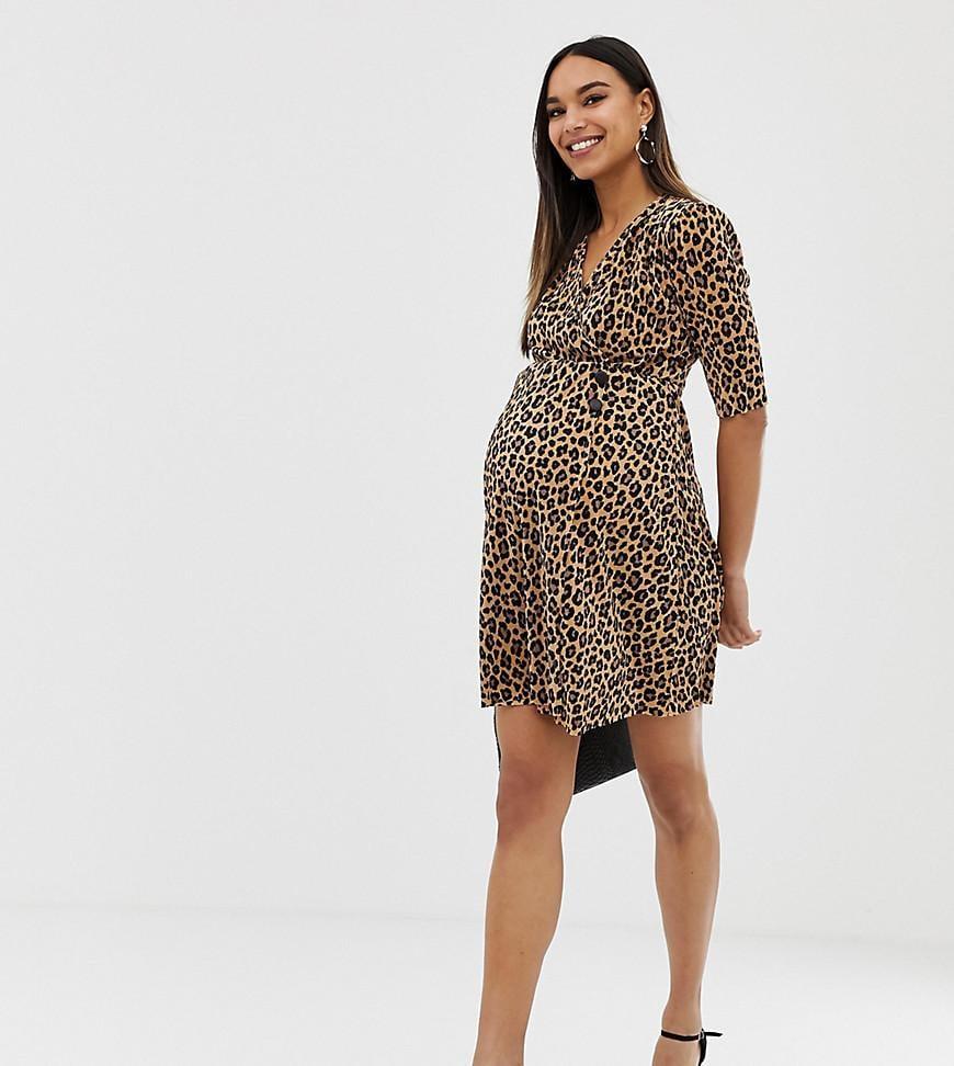 0df1c73aac9f ASOS. Women's Asos Design Maternity Leopard Print Plisse Mini Dress With Button  Detail