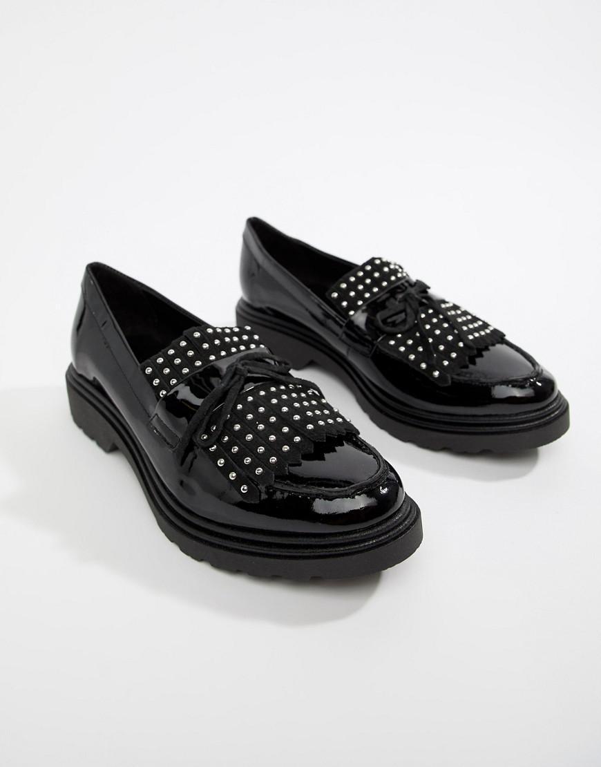 5ca39b10dc5 Lyst - ALDO Nydiradda Leather Stud Chunky Loafers in Black