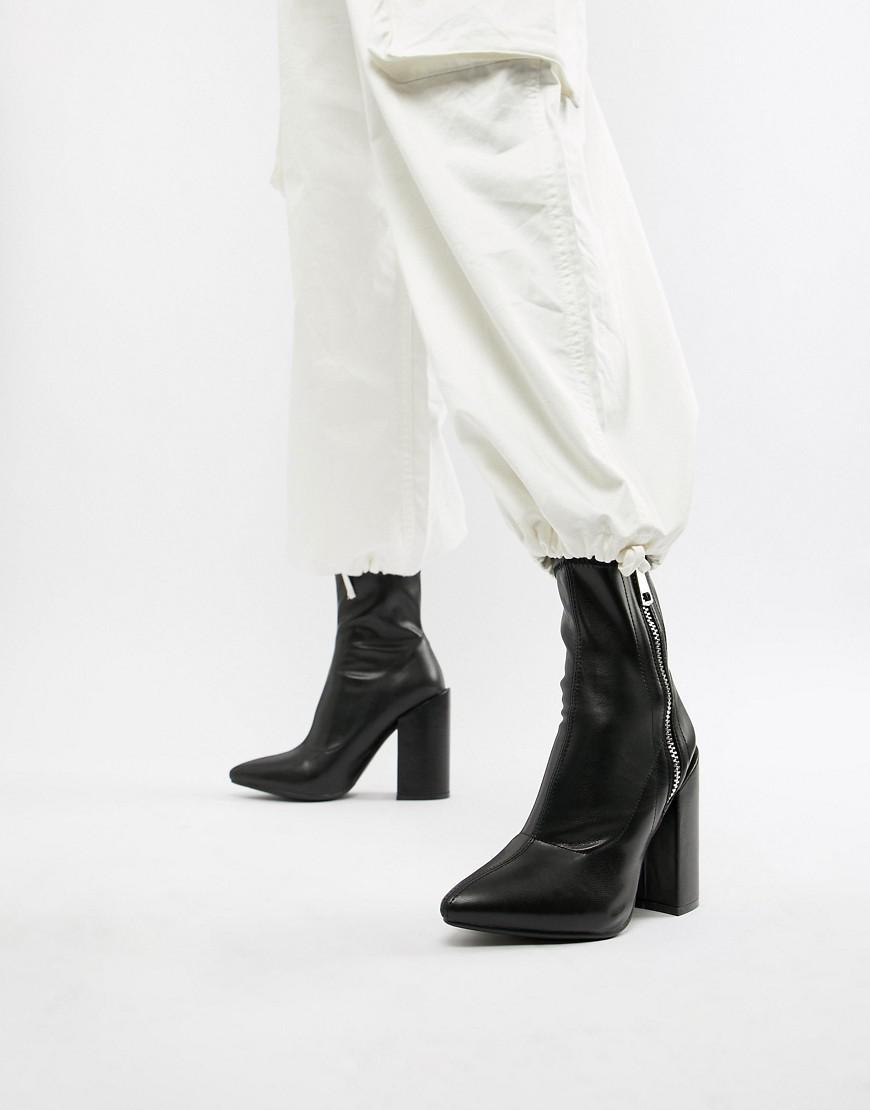 6a8212af1f41 Lyst - Public Desire Renzo Black Block Heel Sock Boots in Black