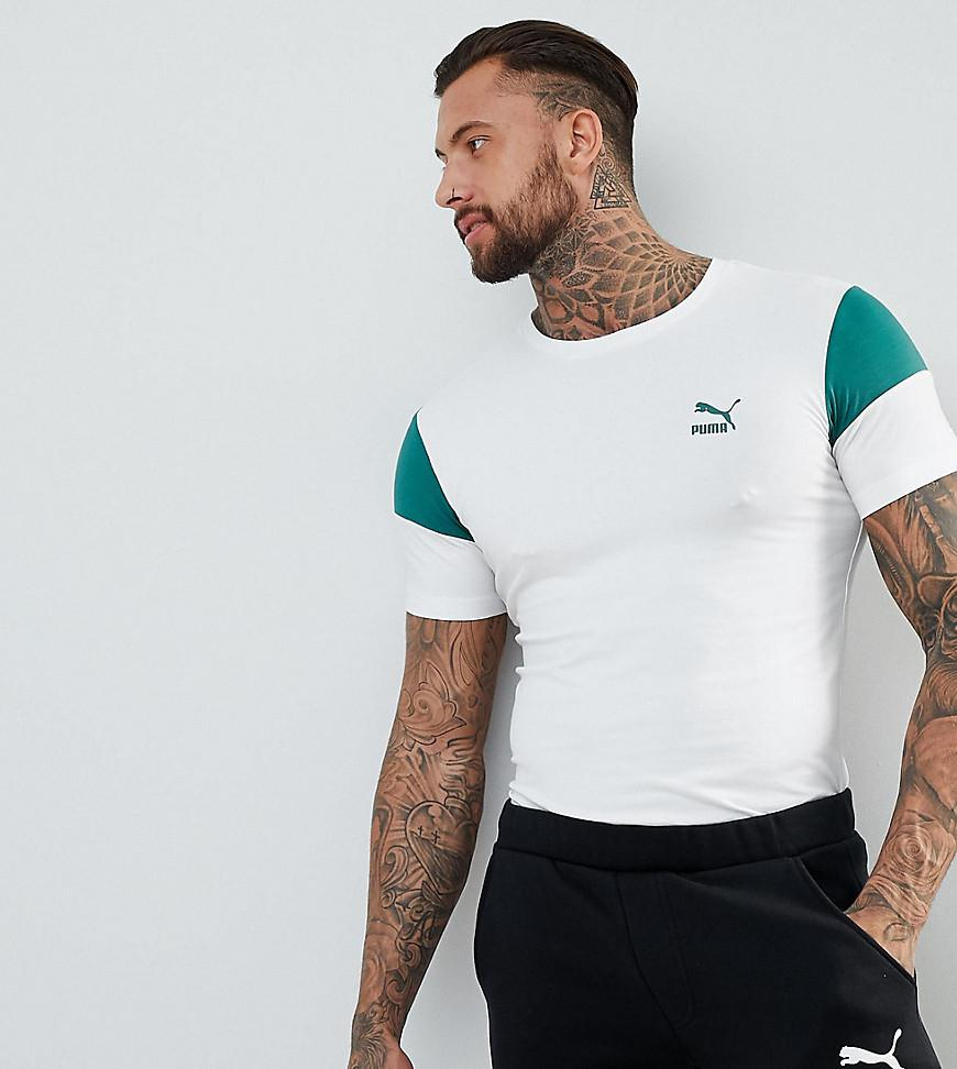 d1ff972e2f7d59 PUMA Panel T-shirt In Muscle Fit In White Exclusive To Asos in White ...