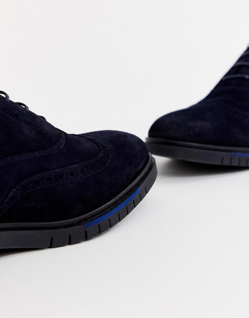 a6fbe5dc9 Lyst - Tommy Hilfiger Flexible Dressy Brogue Suede Shoes In Navy in ...