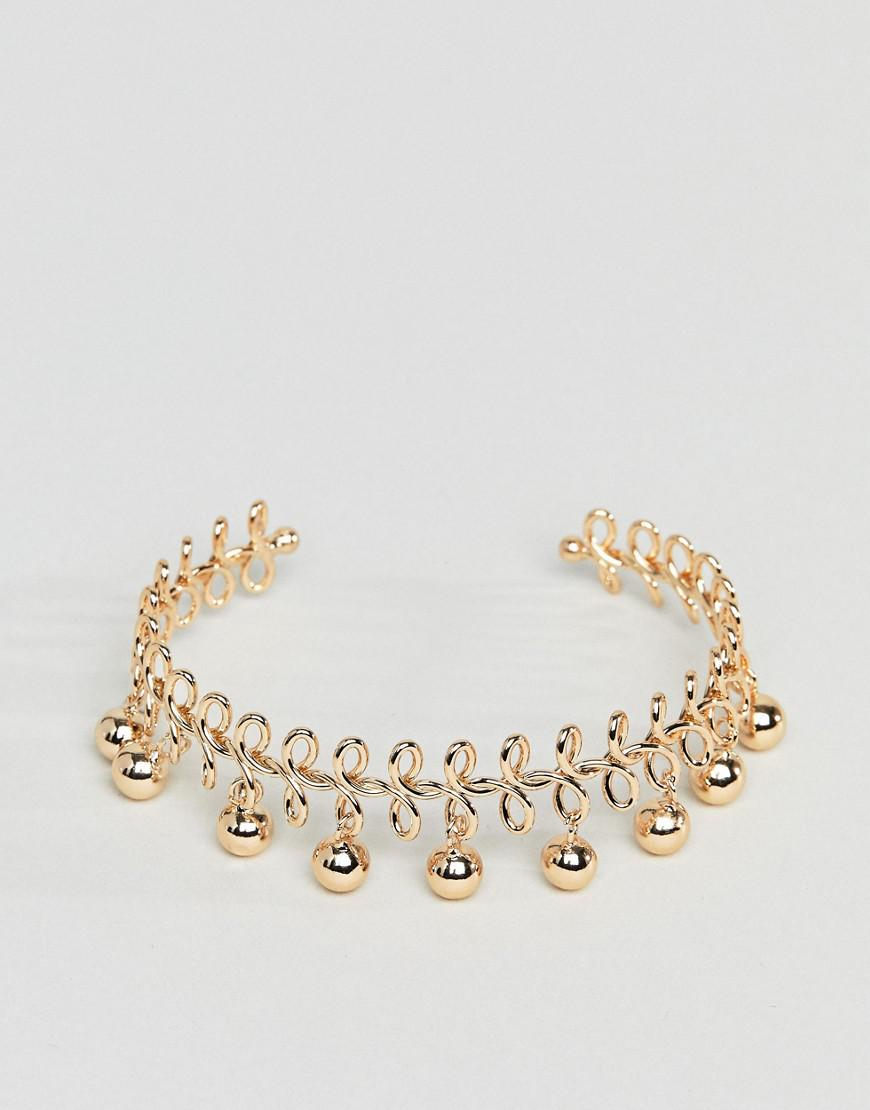 DESIGN Wire Wrapped And Ball Charm Cuff Bracelet - Gold Asos mHHJqfM