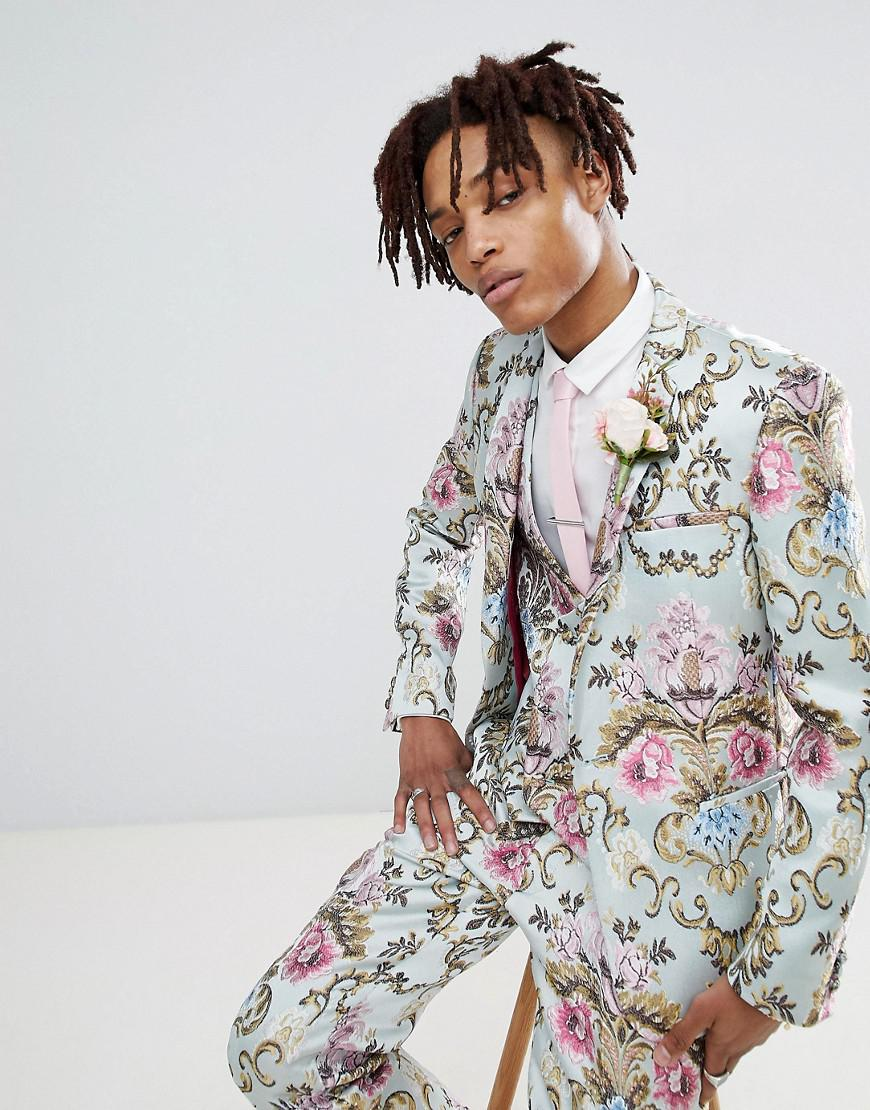 b1ad957c20c ASOS Wedding Skinny Suit Jacket In Pastel Floral Jacquard in Blue ...