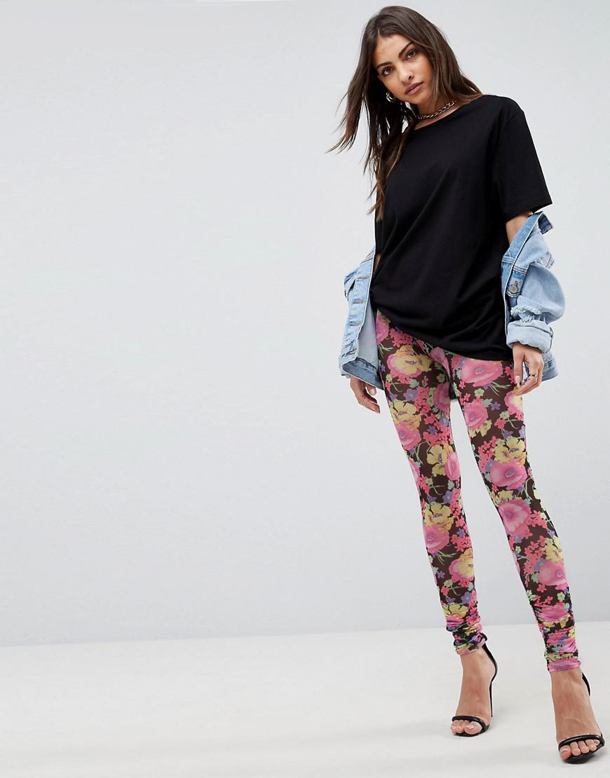 DESIGN leggings in floral print with mixed print panels - Multi Asos hDc48LQ2