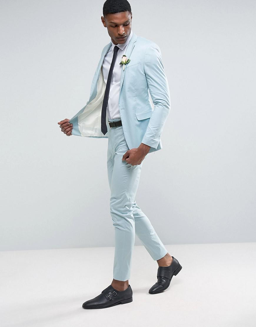 Lyst - Asos Tall Wedding Skinny Suit Trouser In Light Blue Stretch ...