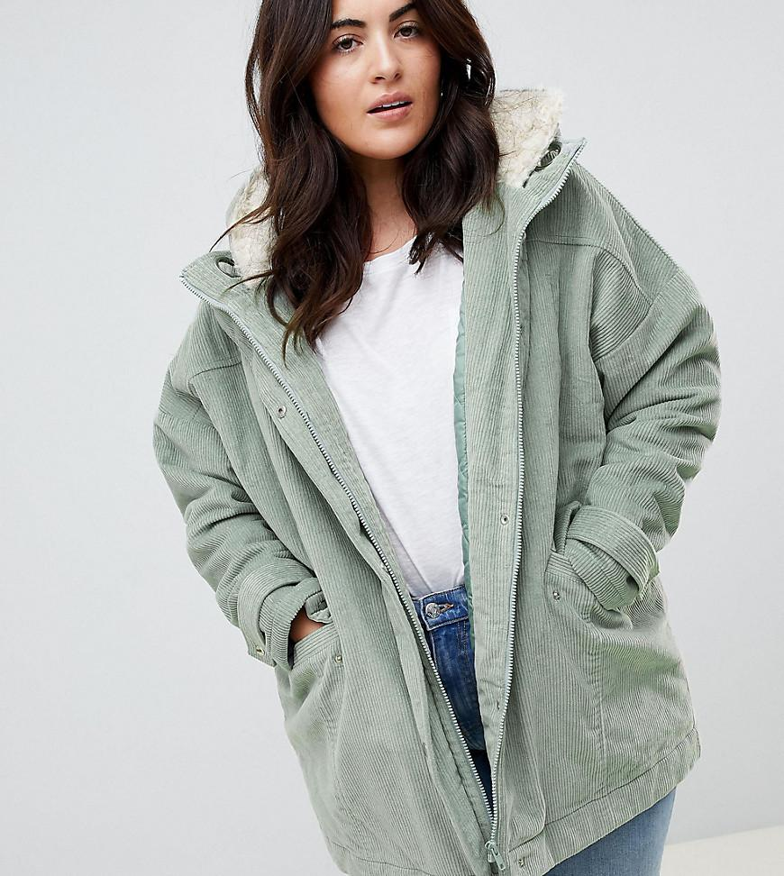 236c12ff1c52 ASOS Asos Design Curve Cord Borg Hooded Parka in Green - Lyst