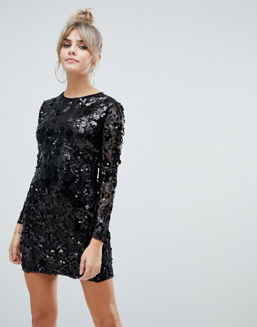 ab3cab360d405 Boohoo Long Sleeve Sequin Bodycon Mini Dress With Lace Up Back Detail In  Black in Black - Lyst