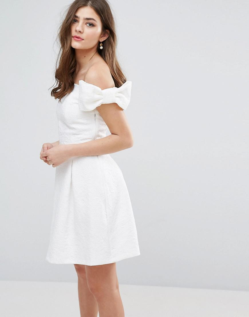acf0c5fe58 Miss Selfridge Bow Bardot Skater Dress in White - Lyst