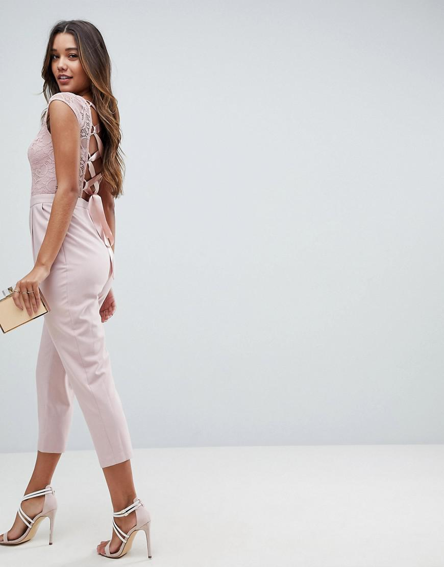 0072d40001b Lyst - ASOS Asos Lace Top Jumpsuit With Lattice Back in Pink