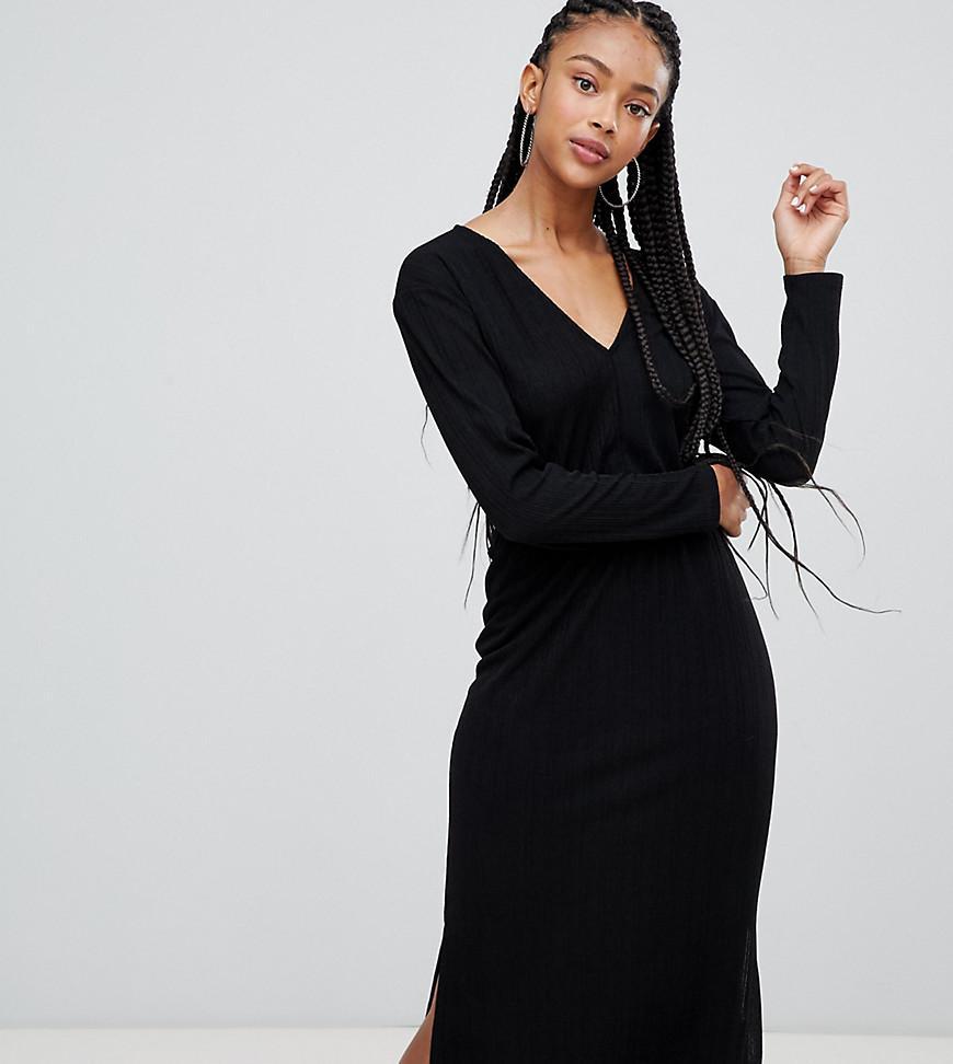 389171ae50 Lyst - Bershka V Neck Plisse Dress in Black