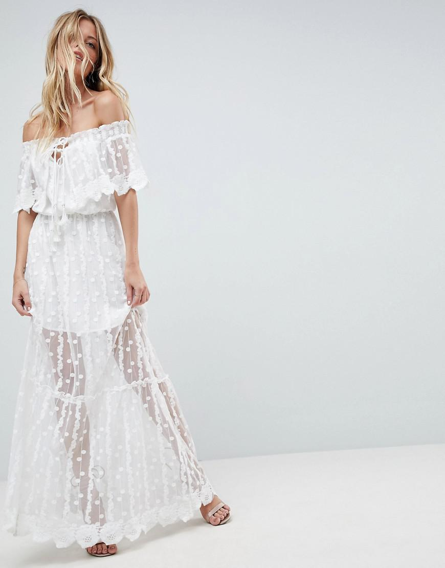 71d26fb986739 Lyst - Adelyn Rae Joseline Off Shoulder Lace Maxi Dress in White