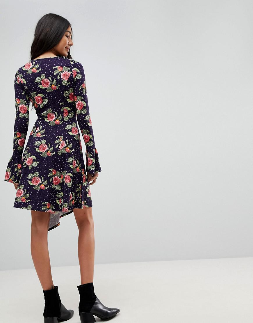 b5922c9ea8d7a6 ASOS Mini Dress With Hanky Hem And Frill Cuff In Spot Floral Print in Blue  - Lyst