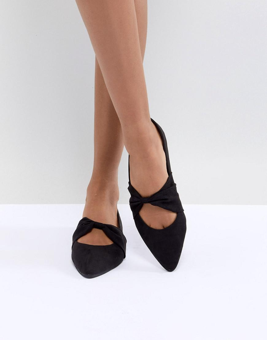 11a657c99b2d Lyst - Oasis Bow Centre Flat Shoe in Black